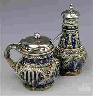 Doulton Lambeth English Salt & Pepper Pottery 1876