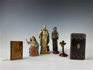 Religious Santos Wooden Statues & Prayer Books LOT