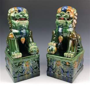 Chinese 20C. Pair Glazed Porcelain Foo Dog Statues