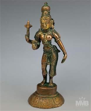 Bronze Indian Hindu Deity Goddess Statue Sculpture