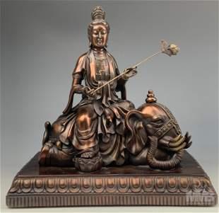 Bronze Hindu Deity Indian God & Elephant Sculpture