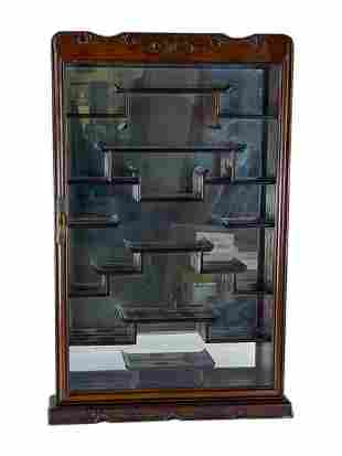 Japanese Wall Mount Wooden Curio Display Cabinet
