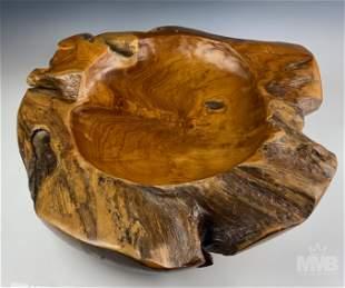 Organic Tree Trunk Teak Wood Center Piece Bowl