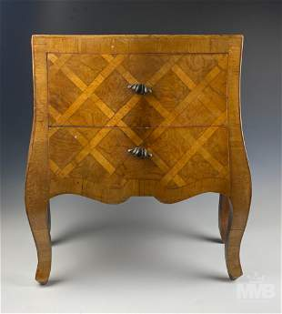 Antique Italian Olivewood Bombe Nightstand Chest