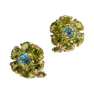 Italian 18K Gold Peridot Topaz Flower Earrings