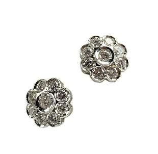 18K White Gold and Diamond Cluster Flower Earring