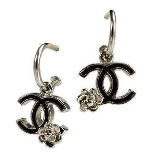 CHANEL Boucles Oreille Silver Enamel Hoop Earrings