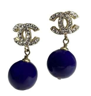 CHANEL Boucles Oreille Crystal Purple Earrings