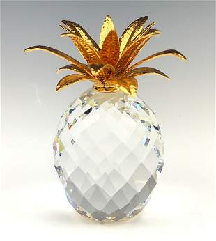 "Swarovski Crystal & Gilt 4"" Pineapple Figurine"