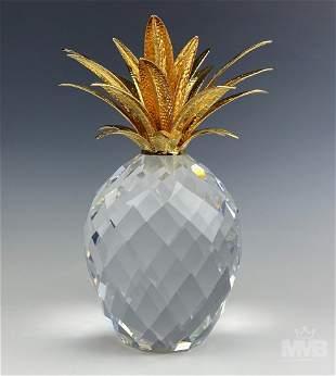"""Swarovski Crystal & Gilt 9"""" Pineapple Figurine"""