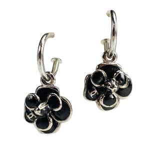 CHANEL Silver Black Enamel Camellia Hoop Earrings