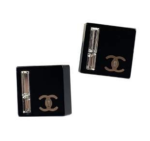 CHANEL Boucles Oreille Crystal Sq Enamel Earrings