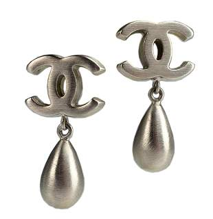 CHANEL Boucle Oreille Silver Tear Drop CC Earrings