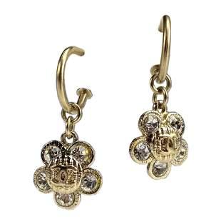 CHANEL Boucles Oreille Crystal CC Flower Earrings