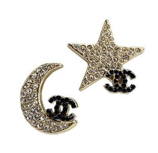 CHANEL Boucles Oreille Moon Stars Crystal Earrings