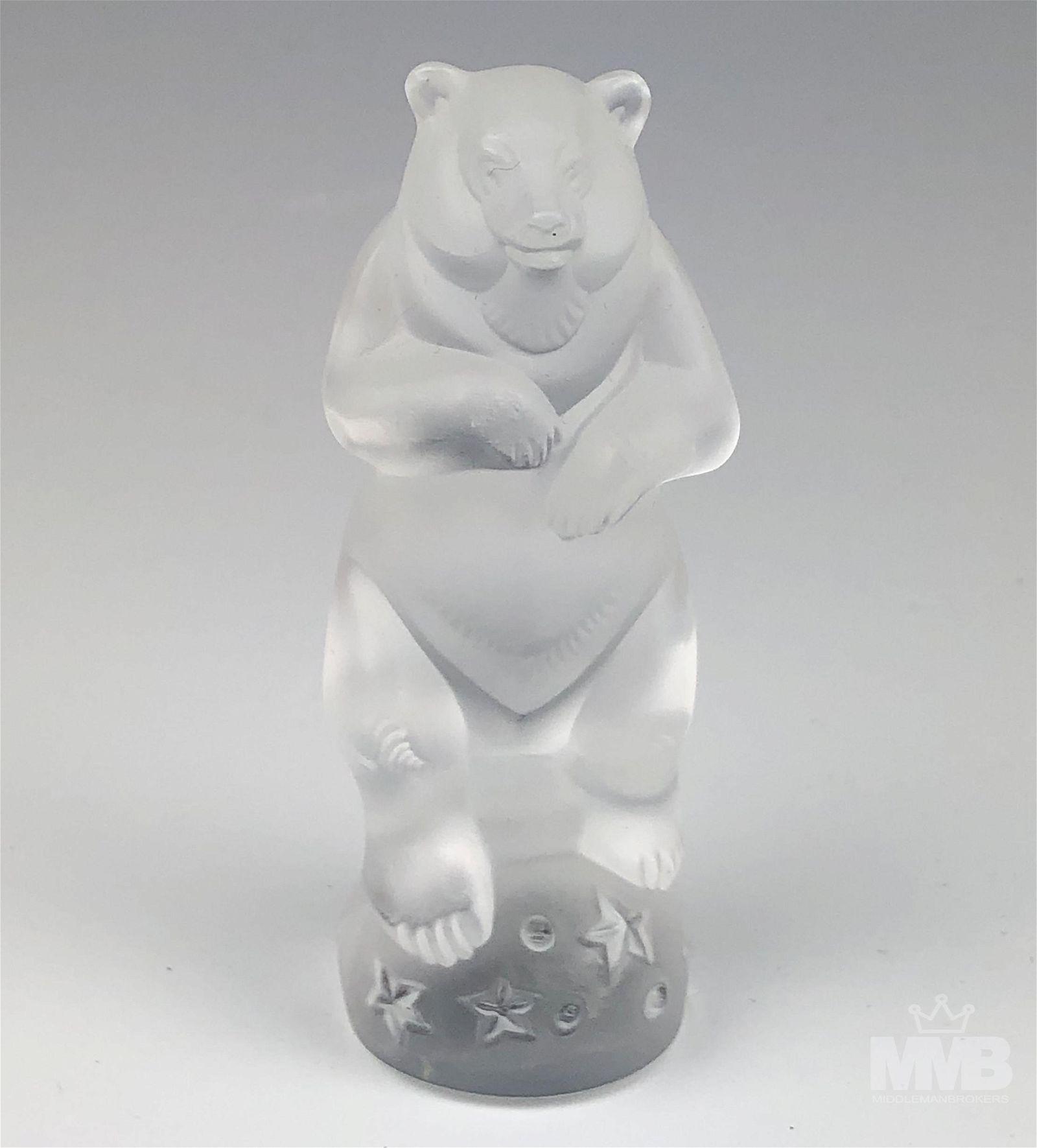 Lalique Circus Bear on Ball Crystal Figurine