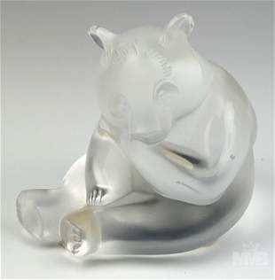Lalique Panda Bear Frosted Clear Crystal Figurine