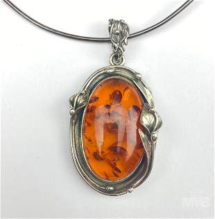 Sterling Silver Baltic Amber Pendant and Necklace