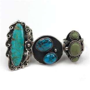3 x Native American Sterling Silver Gemstone Rings
