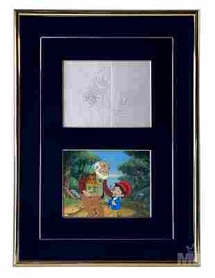 Pinocchio & Geppetto Painted Production Cel DISNEY