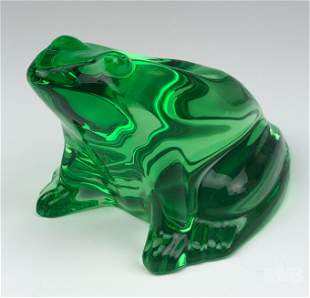 Baccarat Green Crystal Frog Figurine Retired