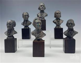 Franklin Mint President Bronze Bust Statue 6pc Set