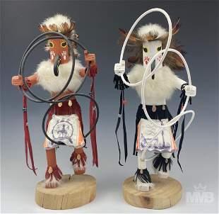 Kachina Doll Pair Hand Painted Navajo Hoop Dancers