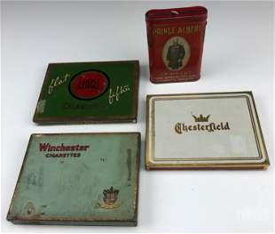 Estate 4pc LOT Old Tin Cigarette Tobacco Box Cases