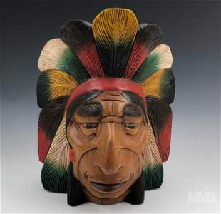 Wood Hand Carved Indian Chief Head Bust Sculpture