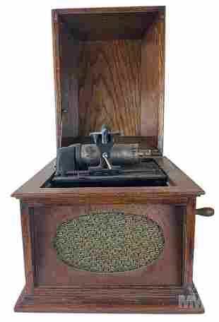 Thomas Edison Oak Wood Countertop Phonograph