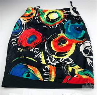 Gianni Versace Graffiti Art Cotton Pencil Skirt 40