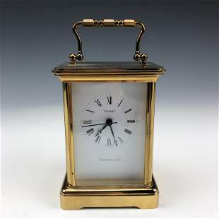 Tiffany Co Gilt Brass Quartz Swiss Carriage Clock