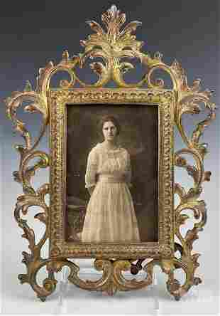 Gold Gilt Ornate Cast Iron Victorian Picture Frame