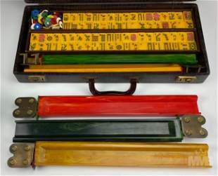 Mahjong Set w/ Case Vintage Butterscotch Bakelite
