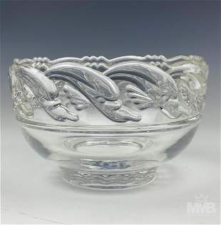 Tiffany & Co. Dolphin Fish Art Glass Crystal Bowl