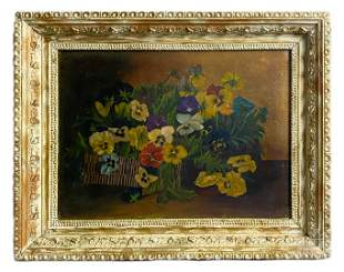 Floral Bouquet Still Life Oil On Canvas Painting