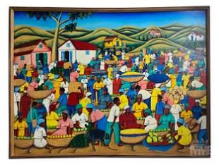 Signed Mystery Artist Haitian Folk Oil Painting