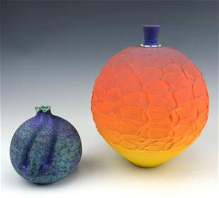 LOT 2 Mystery Artist Studio Art Pottery Ball Vases