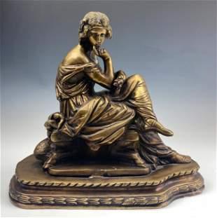 Art Nouveau Seated Female Gilt Bronze Sculpture