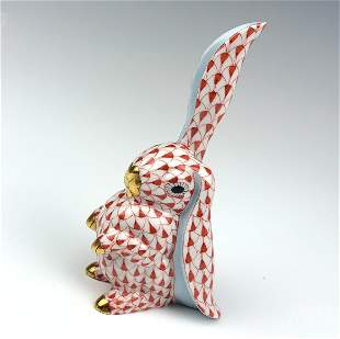 Herend Red Fishnet Porcelain Bunny Rabbit Figurine
