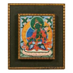 Tibetan Vintage Thangka Green Tara Buddha Painting