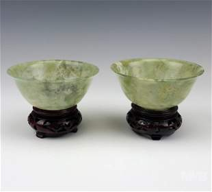 Chinese Green Jade Carved Bowls w Rosewood Stands