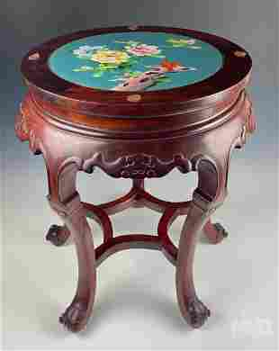 "Chinese Cloisonne Enamel Top 20"" Rosewood Table"