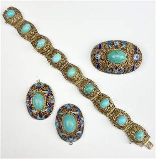 Chinese Enamel Silver Filigree Turquoise Jewelry