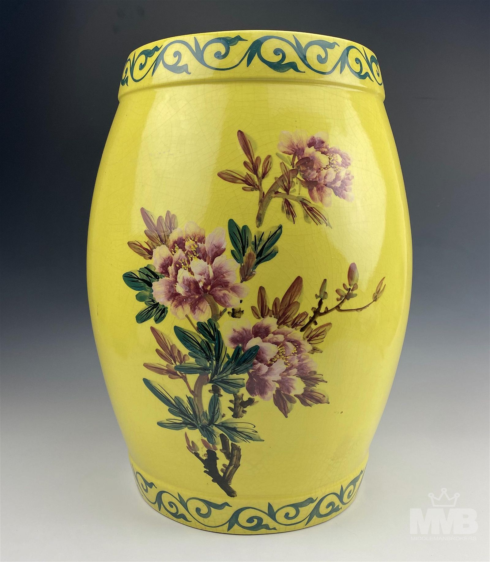 Chinese Export Imperial Yellow Garden Stool Seat