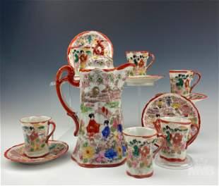 Japanese Satsuma Style Porcelain Geisha Tea Set