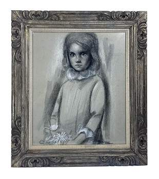 Betti Bernay 1926-2010 White Flower Girl Painting