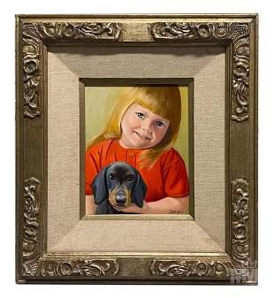 Betti Bernay 1926-2010 Girl Holding Puppy Painting
