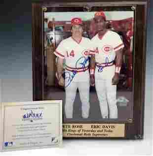 Pete Rose & Eric Davis Autographed Photo SIGNED