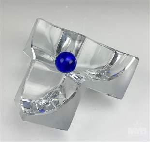 Daum Geometric Crystal Ashtray w/ Cobalt Blue Ball